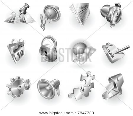 Metal Metallic Web And Application Icon Set