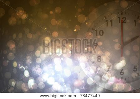 two o clock against dark abstract light spot design