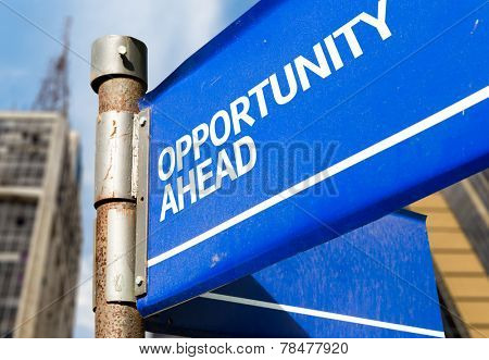 Opportunity Ahead blue road sign