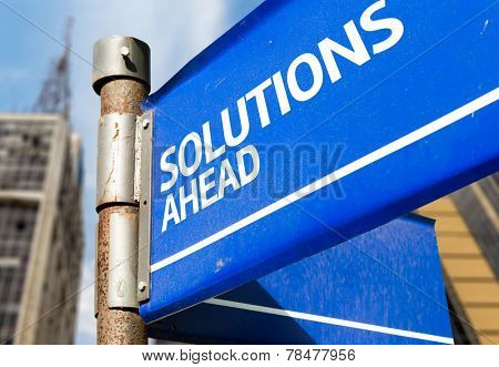 Solutions Ahead blue road sign