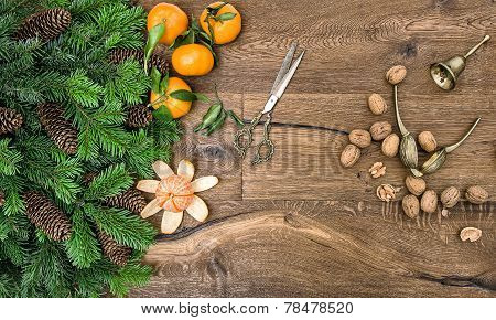 Tangerine Fruits, Walnuts And Antique Accessories