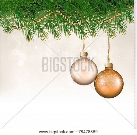Christmas Background With Balls And Branches. Vector.