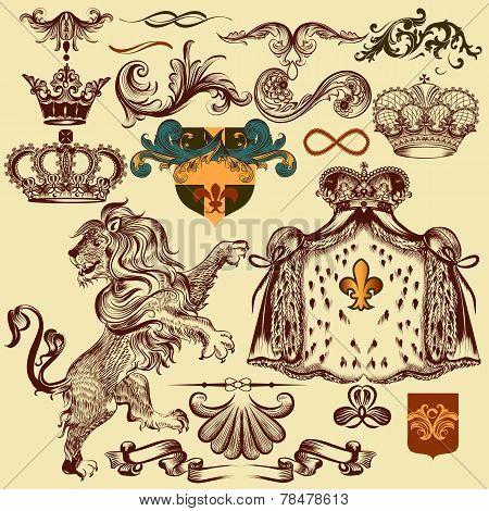 Set Of Vector Heraldic Elements For Design