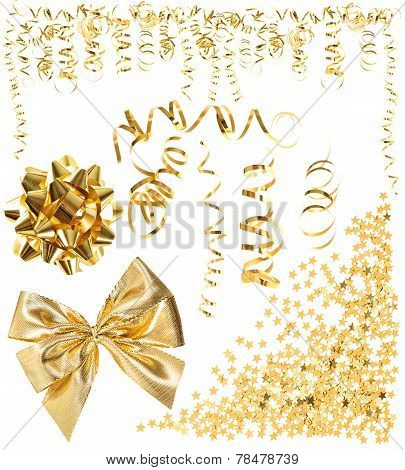 Golden Serpentine Streamer, Confetti, Ribbon Bow
