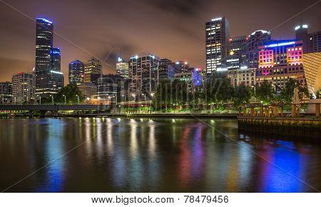 Melbourne Skyline Along The Yarra River At Dusk.