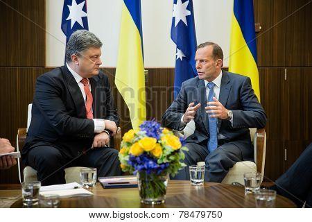 Australian Prime Minister Tony Abbott And President Of Ukraine Petro Poroshenko
