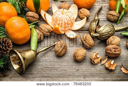 Mandarin Oranges, Walnuts And Christmas Tree Branches