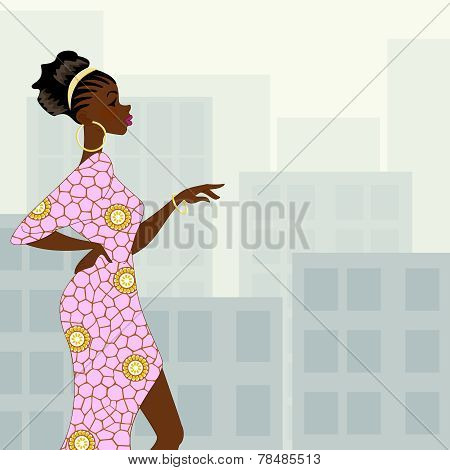 Dark-skinned woman in the city
