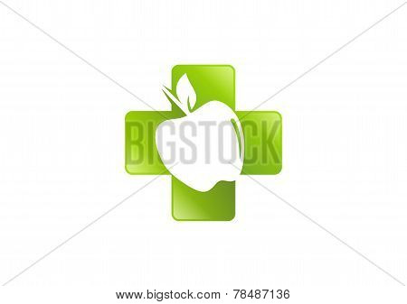 green cross pharmacy apple vector logo design
