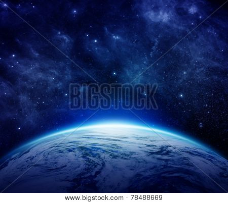 Blue Planet Earth, sun, stars, galaxies, nebulae, milky way in space can use for background.