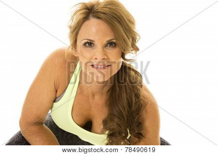 Older Woman Green Fitness Top Lean Forward