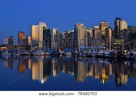 Vancouver City Skyline, at Dusk