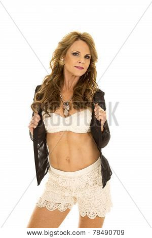 Older Woman Lace Bra Hold Shirt Open