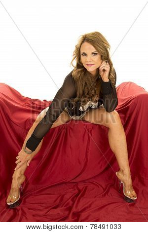 Woman Lace Bra Open Shirt Sit On Red Legs Out