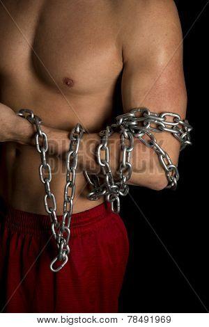 Man No Shirt Black Background Chain On Arm Close
