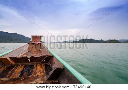 Beautiful Mountains And Natural Attractions On Long Tail Boat In Ratchaprapha Dam