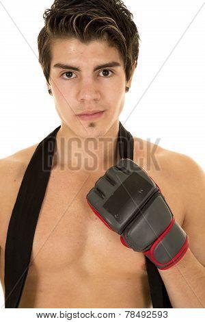 Man No Shirt Red Shorts One Glove Up
