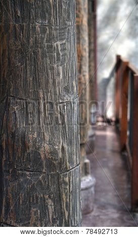 Old Rustic Wood Column Texture Architecture