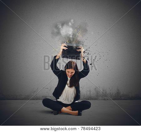 Businesswoman Breaks Her Laptop