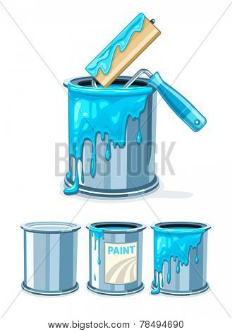 Can bucket with blue paint and roller for painting work maintenance. Eps10 vector illustration. Isolated on white background