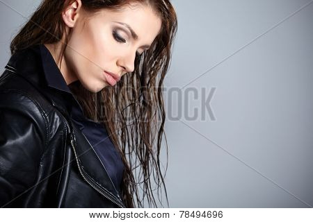 The girl in black leather jacket