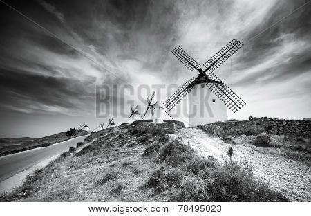 traditional windmills in Consuegra, Toledo, Spain