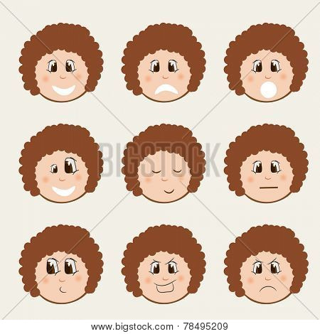 Set of different facial expressions on beige background.