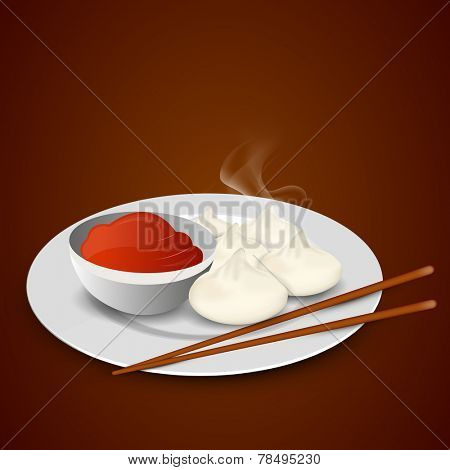 Nepalese traditional dumpling momos with chopstick and sauce on brown background.
