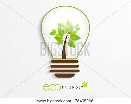 Save Ecology concept with idea for save the energy, Eco Friendly text and green tree in a electric bulb on white background.