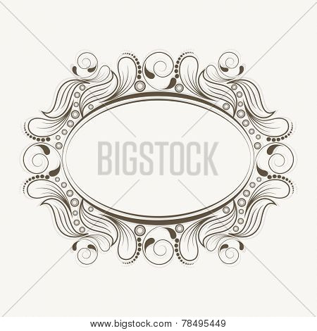 Beautiful floral design decorated blank frame in oval shape white background.