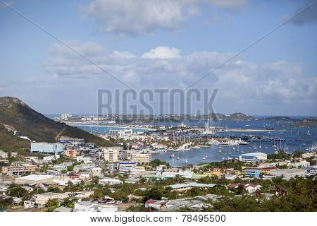 MARIGOT BAY, ST MARTIN-MARCH 5, 2011: Marigot Bay as seen from a high overlook on the island of St Martin