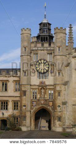 Clock Tower In Trinity College Cambridge University
