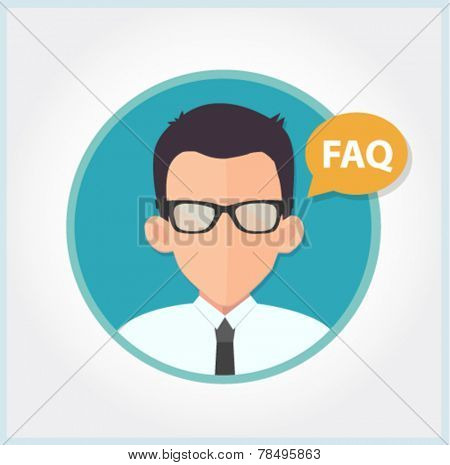 customer support or sales manager in glasses - flat design vector