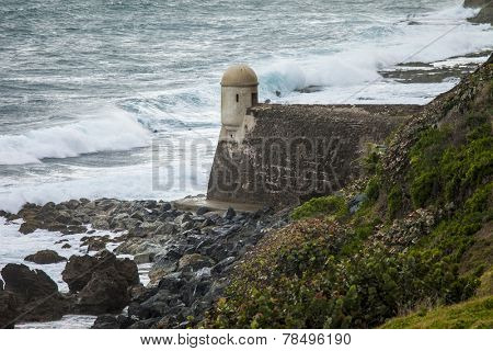 Storm waves crashing against the coast in Puerto Rico