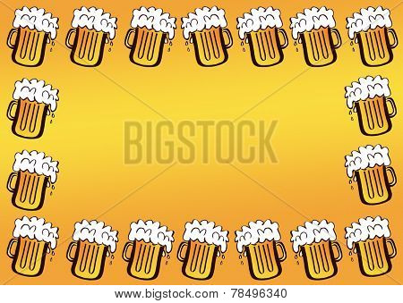 Frame with overflowing beer mugs, with room for text in the middle