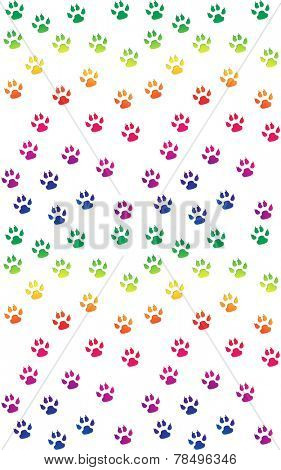 Paw prints in bright rainbow colors, on white