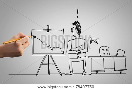 Hand draw pencil caricature of funny businessman
