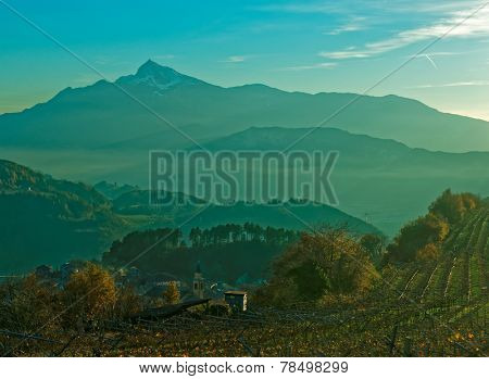 Small town in Trentino area, northern Italy, at sunset