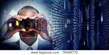 Black Man with binoculars on techno background