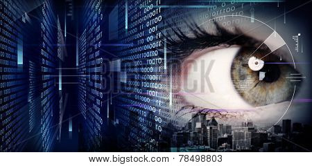 Woman eye close-up on techno background