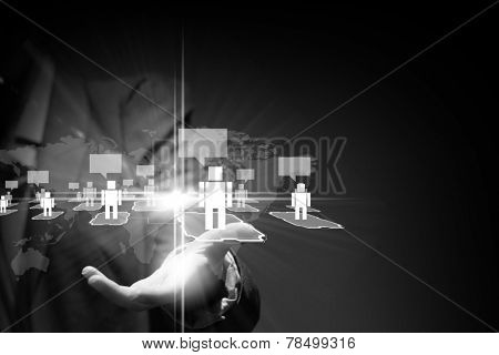 Close up of businessperson holding media icons in palm