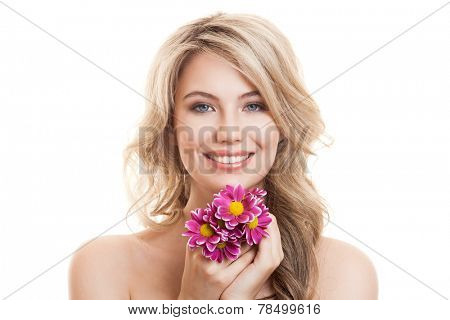 Portrait Of Beautiful Smiling Woman With Flowers. Clear Skin.