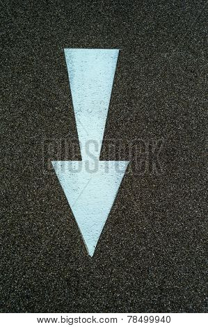 arrow direction as a marker on a bike path in linz, austria