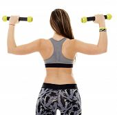 image of cardio  - Fitness young woman doing cardio aerobic exercises with light dumbbells - JPG