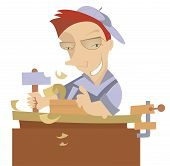 image of joinery  - Cheerful carpenter works at joinery shop illustration - JPG