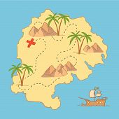 stock photo of treasure map  - Hand drawn vector illustration  - JPG