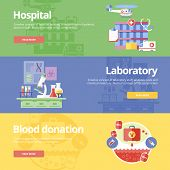 Постер, плакат: Set of flat design concepts for hospital laboratory and blood donation Medical concepts for web ba