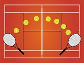 stock photo of deuce  - An Illustration of a Tennis Court  Clay - JPG