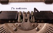stock photo of old vintage typewriter  - Vintage inscription made by old typewriter im mediocre - JPG