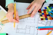 stock photo of interior sketch  - Workplace interior designer  - JPG